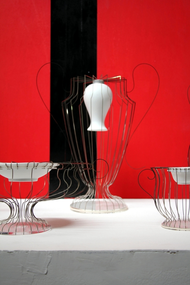 Designer vases of porcelain and stainless steel - Occident and Orient