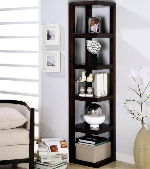Designs for your self made corner shelf space saving Modern corner bookshelf