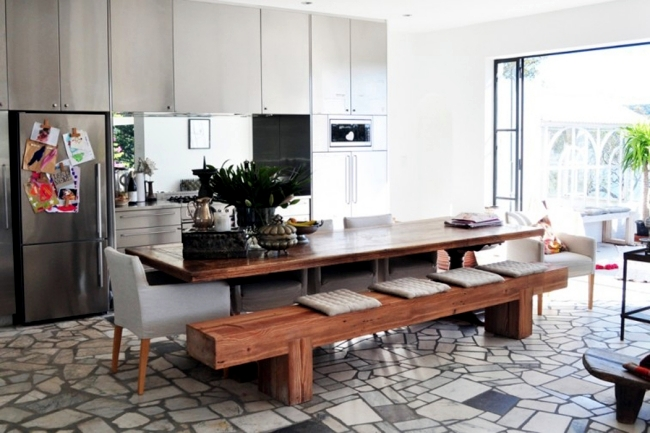 Dining set with bench and create more seats at the table