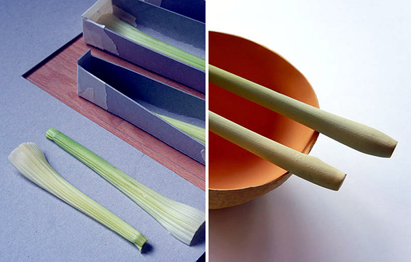 Disposable cutlery designer Bioplstik mimicking fruit and vegetables