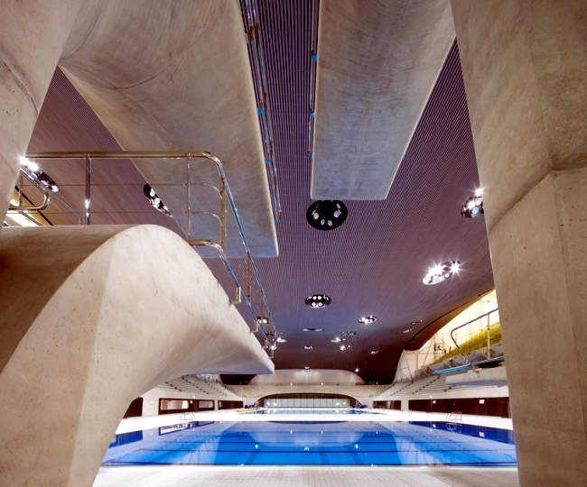 Dominated the swimming pool in London by Zaha Hadid glass, light and concrete
