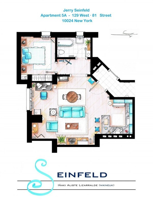 Drawings and layout of the apartments and houses of favorite series
