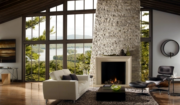 Design Wall In The Living Room Floor To Ceiling Windows And Fireplace With Stone Cladding Living Room