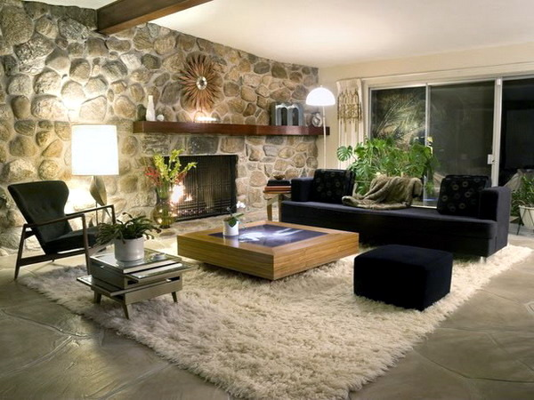 Dress Attractive wall decoration in the living room wall in stone look