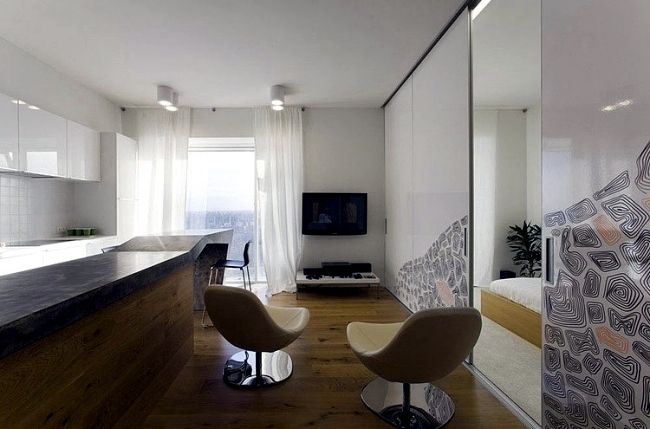 Effective materials create a modern small apartment in Moscow