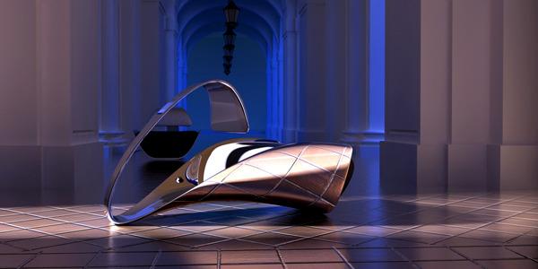 Elegant designer chair with futuristic shapes of Ali Alavi