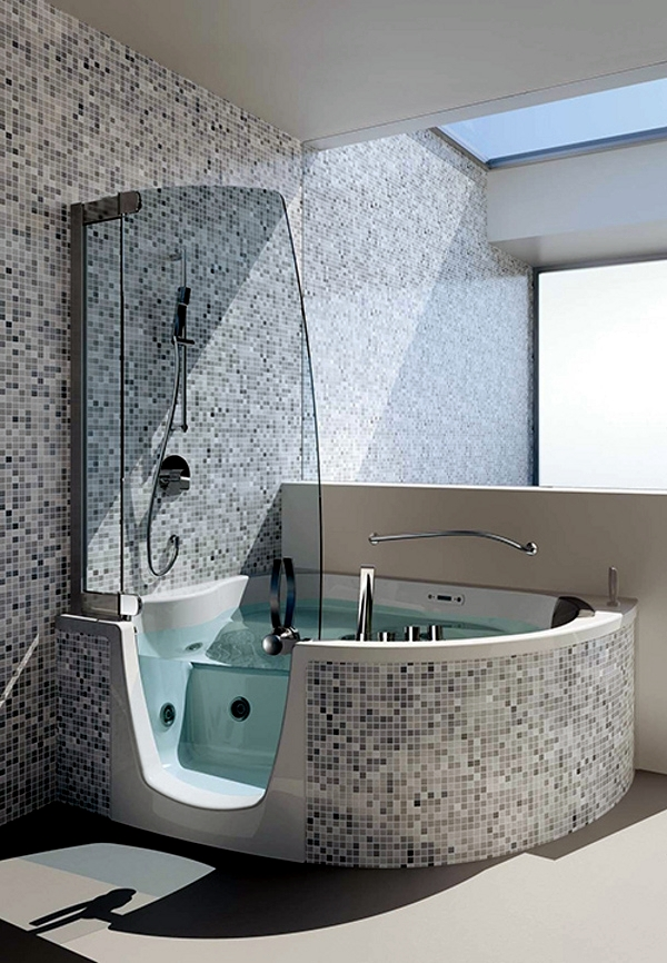 Ergonomic corner bath with shower and whirlpool function