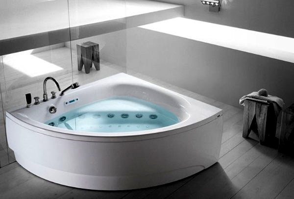 Ergonomic corner bath with shower and whirlpool function for Bathroom ideas without bathtub