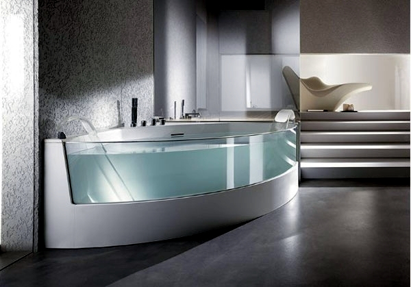 Ergonomic corner bath with shower and whirlpool function by Teuco