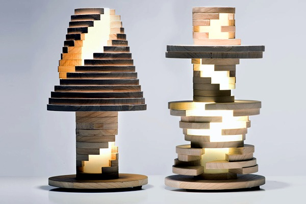 This Unique Lamp Design Was Created By Manufacture Italiana Design. It Has  The Shape Of A Classic Table Lamp, But It Is Made Of Pieces Of Wood That  Can Be ...