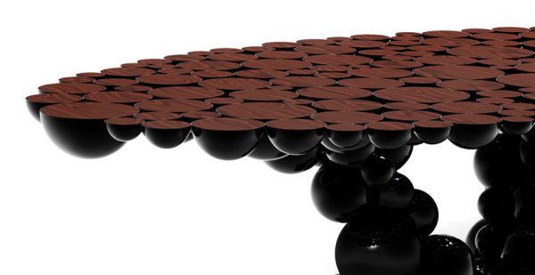 Exclusive dining table design inspired by the Newton's law of gravitation