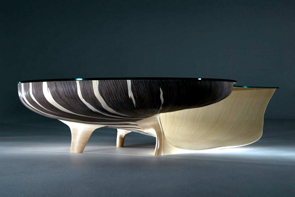 Exclusive table design in the form of a nautilus by Marc Fish