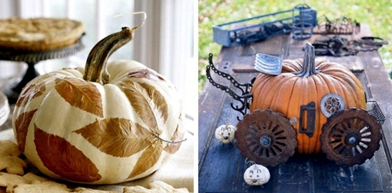 Fast autumn decoration with pumpkins without carving ideas!