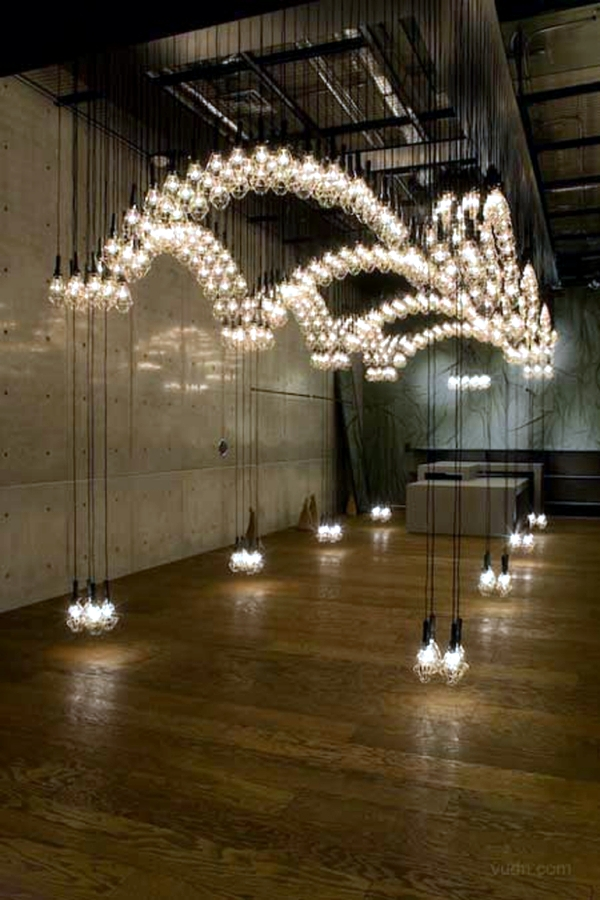 Floating light installation by Ayako Maruta in Diesel Denim Gallery
