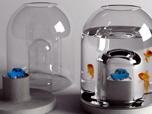 Floating mini garden serves as a natural filter for the aquarium
