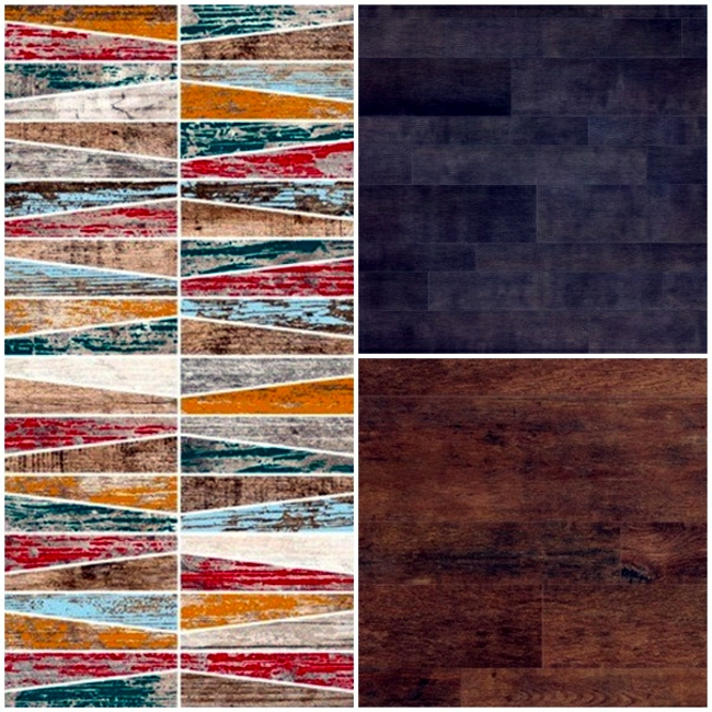 Floor tiles in wood design celebrate the return of retro style of living