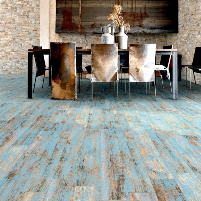 Floor tiles in wood design celebrate the return of retro style of living