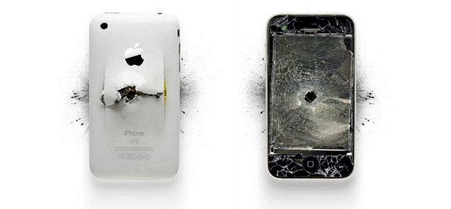Fragmented Apple computer and iPhone as modern art