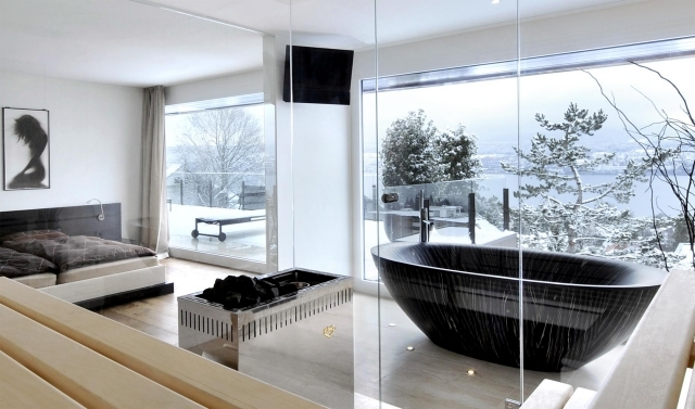 Freestanding Bathtub In The Bedroom No Clear Separation Of Bath 1046 on simple bedroom decor