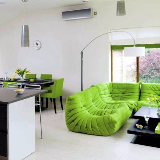 Fresh colors in the living room - 20 living ideas and tips in green and white