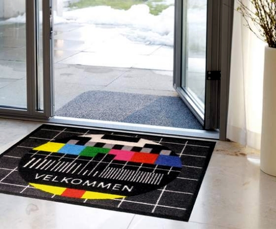 Funny mats provide warmth and happiness in the entrance area