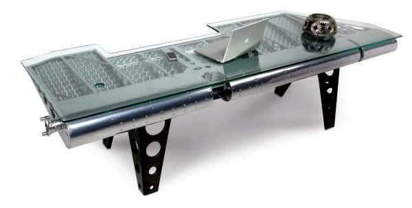 Furniture built from aircraft parts - Moto unique table
