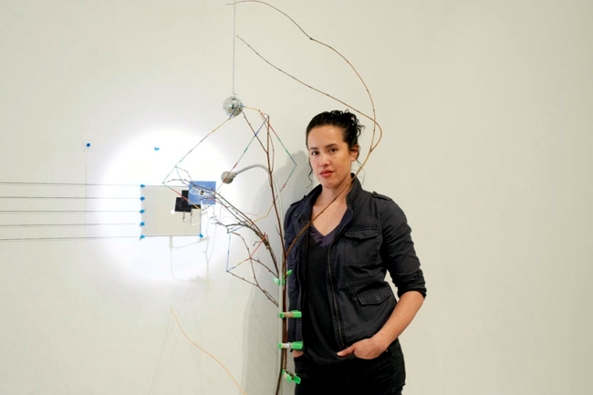 Futuristic art installation transforms the space