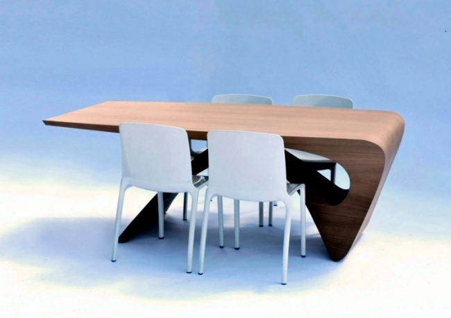Futuristic wooden table design of the series form follows for Futuristic dining table