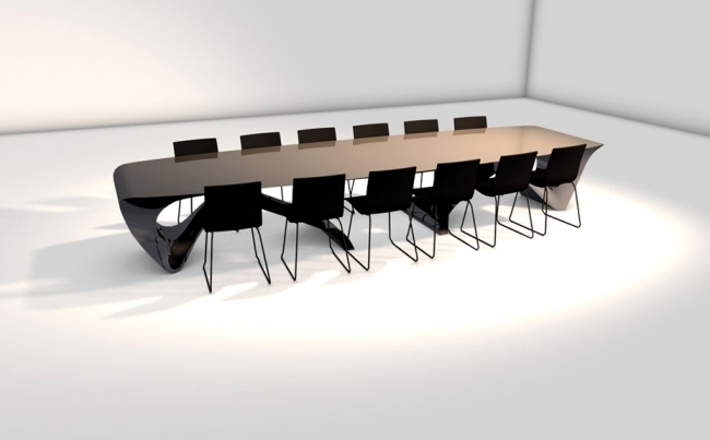 Futuristic wooden table design of the series Form Follows Function