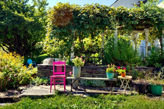 Garden design ideas - put strong color accents