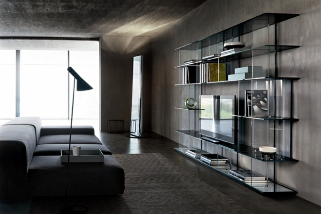 Glass furniture from Italy gives the room artistic touch