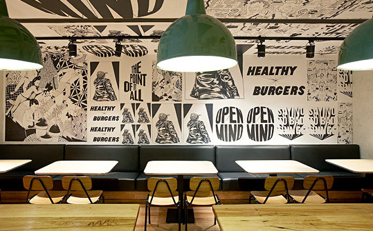 Graphic identity for a restaurant burgers interior