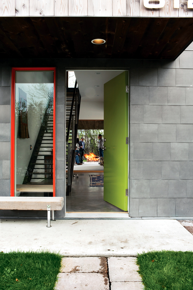 Green and red house