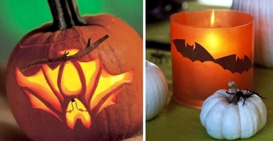 Halloween decoration and craft ideas with bats and black cats