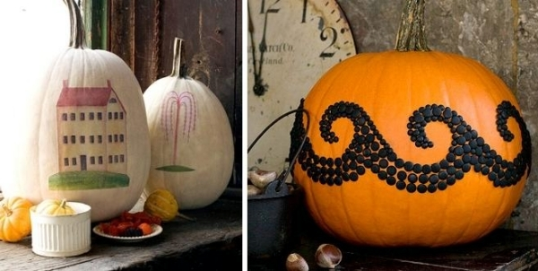 Halloween pumpkins inspired by the traditional folk art interior design ide - Decoration d halloween ...