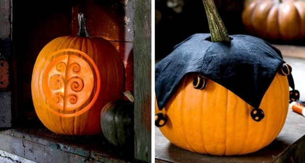 Halloween pumpkins inspired by the traditional folk art