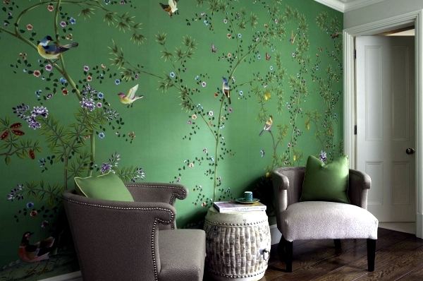 Hand Painted Chinese Silk Wallpaper With Chinoiserie Floral