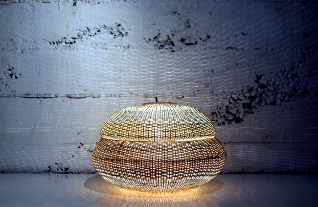 Hand woven design lighting inspired by natural forms