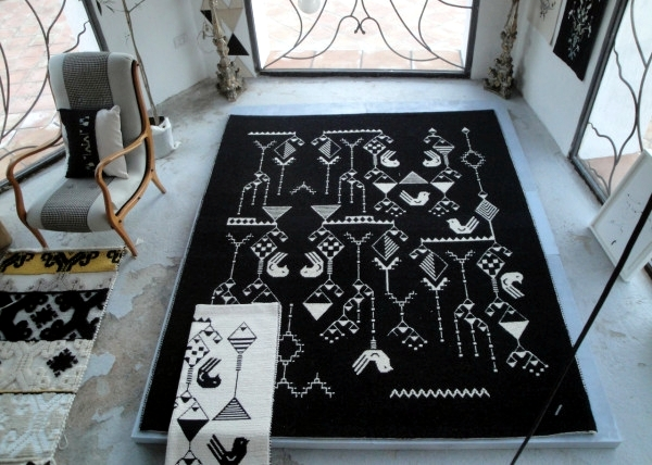 Handmade carpets and wall hangings with patterns of diamonds million