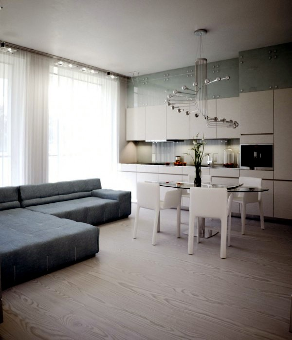 High gloss lacquer and pure white dominate in a modern apartment