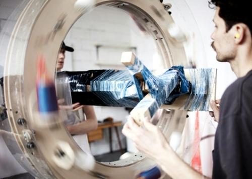 Homemade wrapping machine produces unique designer furniture