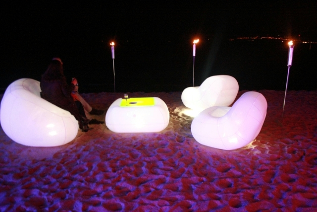Inflatable Furniture With LED Lighting For Interior And