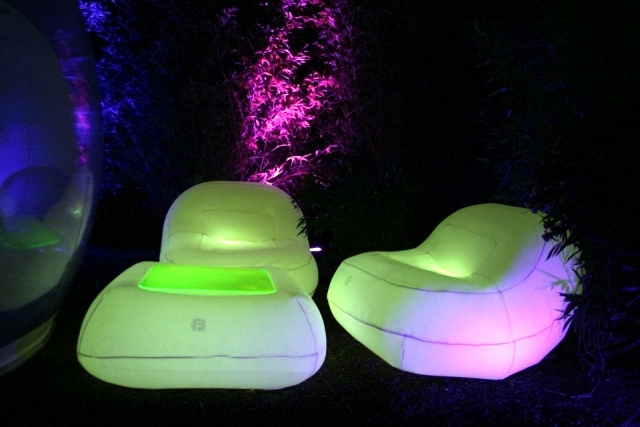 Inflatable furniture with LED lighting for interior and exterior of FUGU