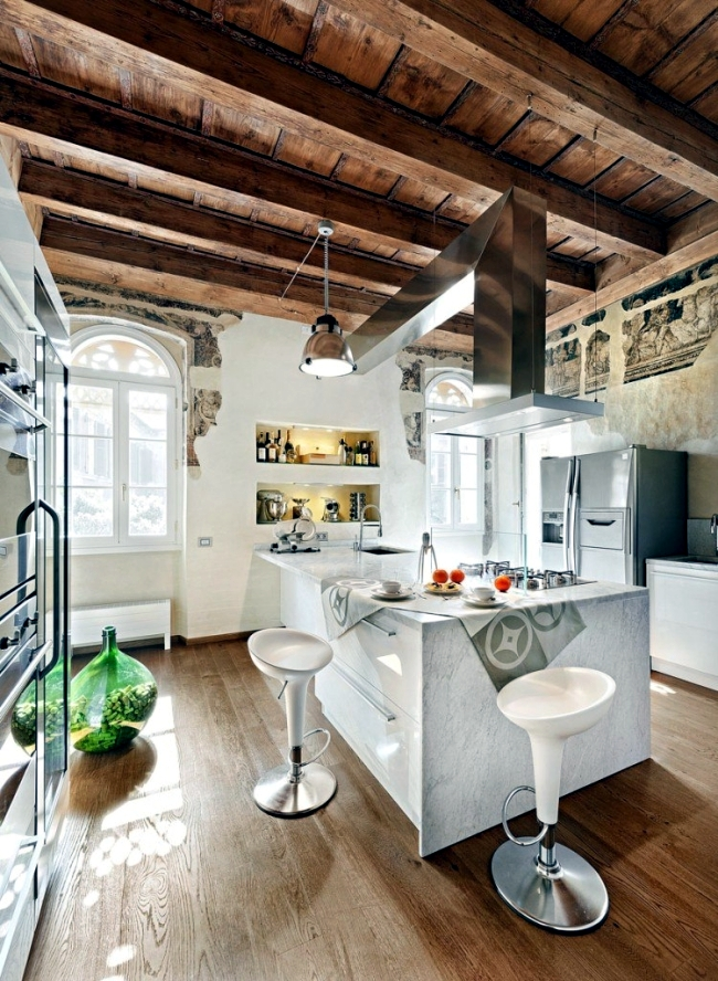 Kitchen with island has functional, modern design