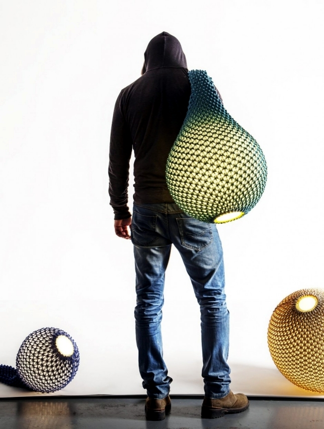 Knitted designer lamps combine technology and tradition