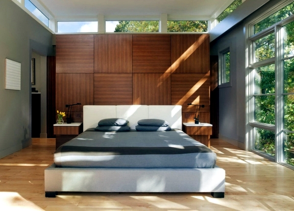 let the wood wall paneling in naturally and modern look interior