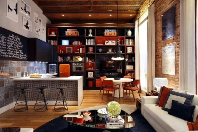 Living room and kitchen in one space - 20 modern design ideas
