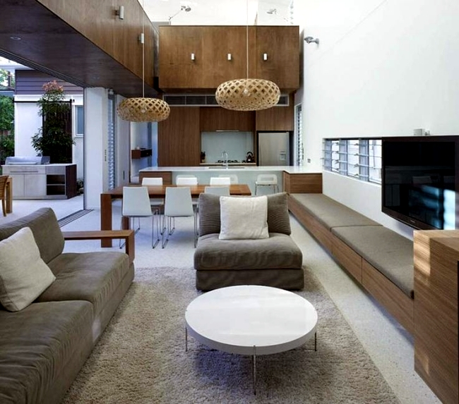 Living room and kitchen in one space – 20 modern design ideas ...