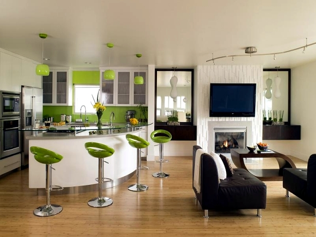 Disconnect the two rooms visually by selecting two different colors of  walls  Paint the kitchen in one color and the living space in a contrasting  color. Living room and kitchen in one space   20 modern design ideas