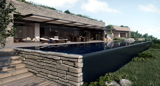 Luxurious dream house with pool and stone facade